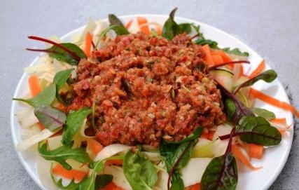 Raw food grönsaksband med paprikasås, Livsaptit