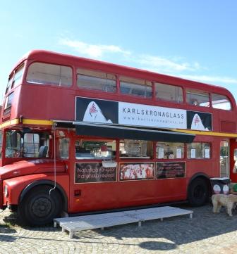 Karlskronaglass, italiensk glass i engelsk glassbuss, Karlskrona, Livsaptit