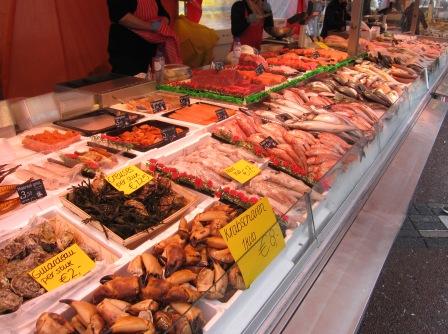 Fisk i långa rader, Matmarknad, Amsterdam, Livsaptit