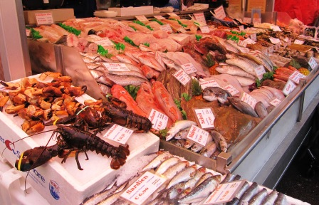 Fisk och skaldjur, matmarknad. Amsterdam, Livsaptit