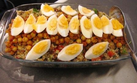 Marockansk blomcoussallad med harissamarinerade kikärtor och kokt ägg, Matiga sallader, Kurs, Livsaptit