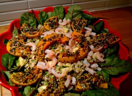 Gremolatarostadpumpasallad med quinoa, räkor och bönor, Matig sallad, Alla helgona, Livsaptit