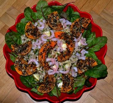 Sallad sedd ovanifrån, Syrlig quinoasallad med gremolataparmesanrostad pumpa, Matig sallad, Livsaptit