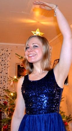 Juloutfit och krona i mitt hår, Linda, Livsaptit