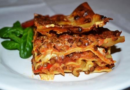 Vegetarisk lasagne, närbild, Livsaptit, Recept