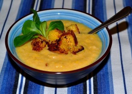 Majssoppa med majsscones-krutonger, Recept, Livsaptit