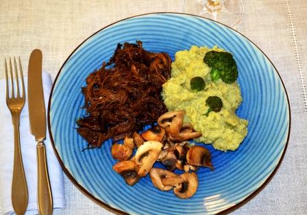 Pulled pork med blomkålsmos och champinjoner, Livsaptit, Recept
