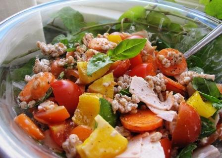 Matvetesallad med kalkon, tomater och basilika, Recept, Livsaptit