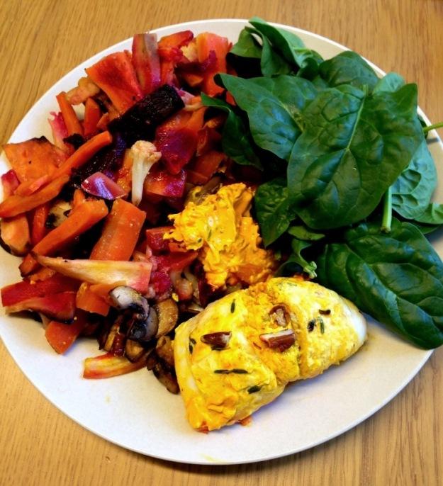 Saffranstimjanfyllda fiskrullader med spenat och ugnsrostade grönsaker, Livsaptit, Recept