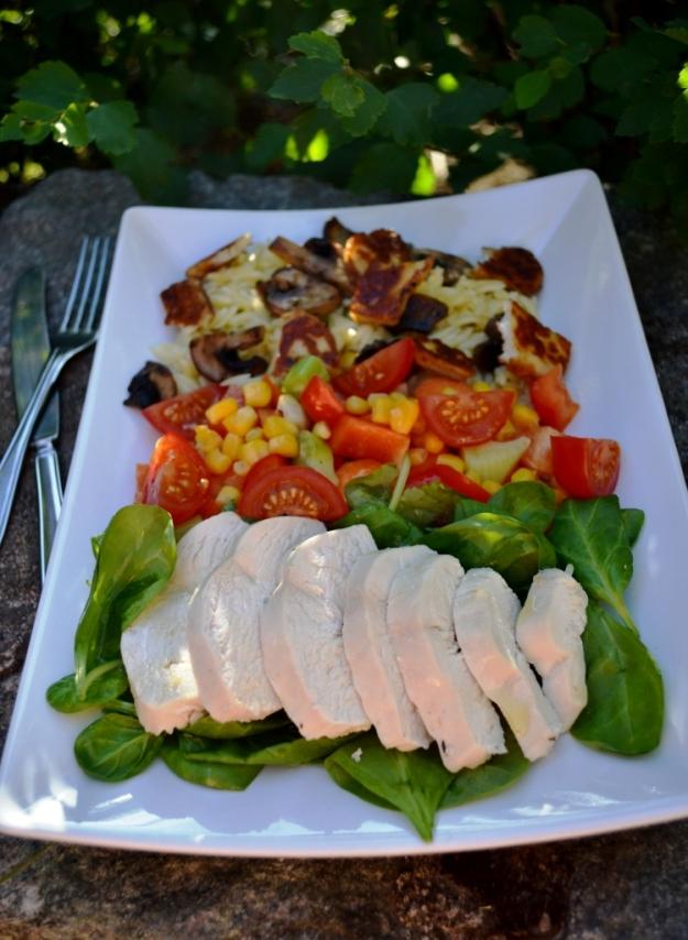 Sommarlunch - sallad med rimmad kokt kyckling, Recept, Livsaptit