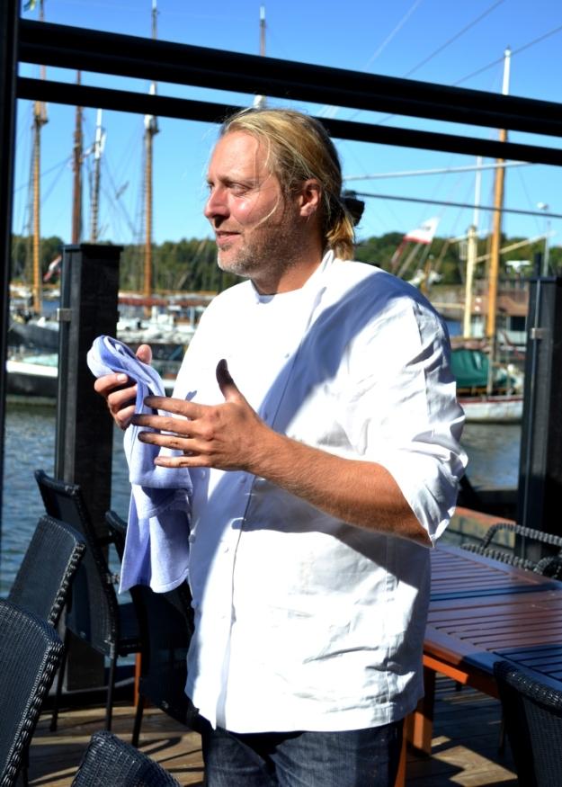 Gustav Trägårdh på uteserveringsdäck på Sjömagasinet, Bloggforum 2014, Livsaptit