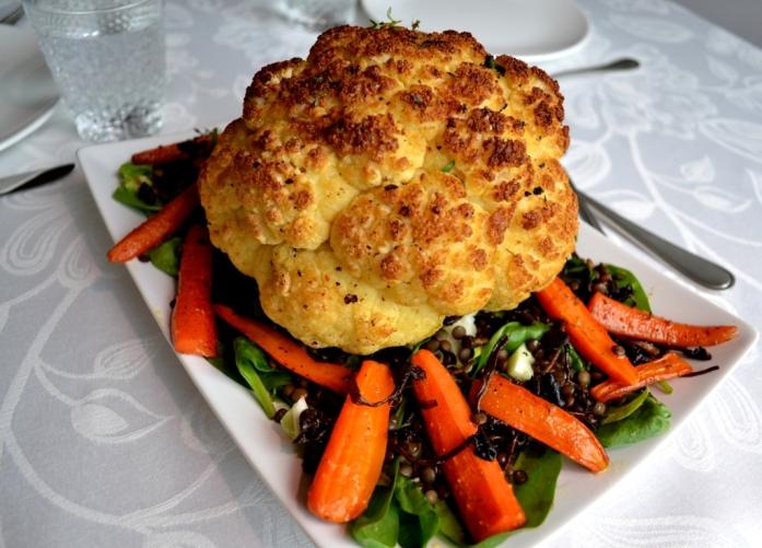 Livsaptit, rostad blomkål, brynt smör, mjukrostade morötter, puylinser, trattkantareller, spenat, Söndagsmiddag, Vegetariskt, Recept