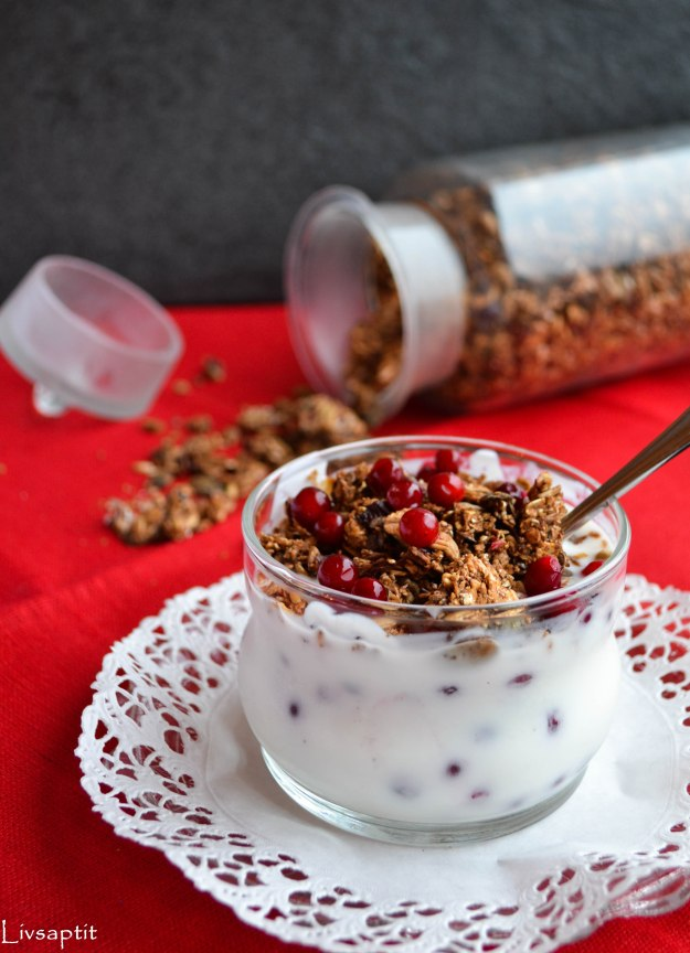 Krispig fröig lingonmüsli, Recept, Livsaptit, Julklappstips, DIY