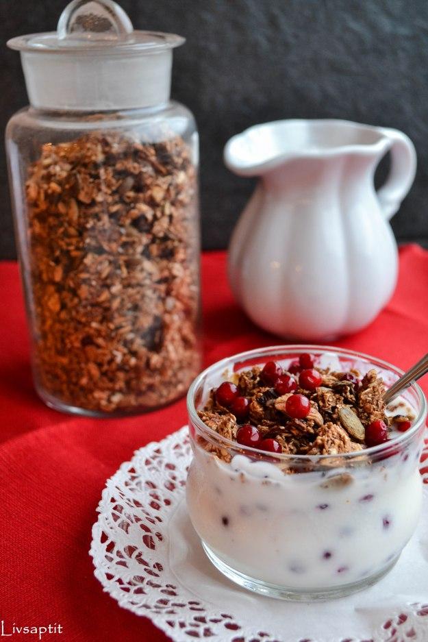 Lingonmüsli med frön, mandel och pepparkakskryddor, yoghurt, Recept, Livsaptit, Julklappstips, DIY