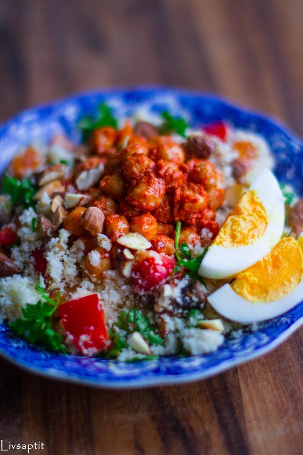 Marockansk couscoussallad med harissakikärtor och aprikoser, Recept, Meatless Monday, Livsaptit, Vegetariskt