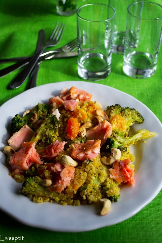 Lunch, Quinoasallad med lax, clementin och chiliwokad broccoli, Recept, Livsaptit