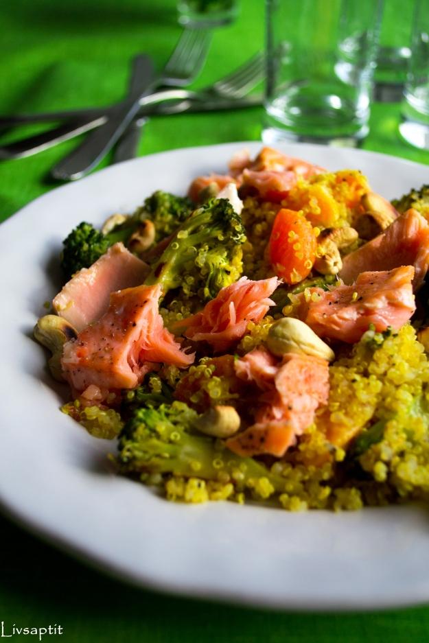 Quinoasallad med lax, clementin och chiliwokad broccoli, Recept, Livsaptit