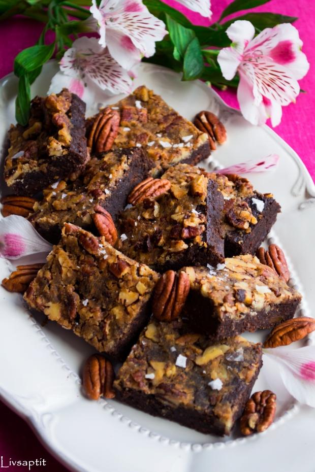Seg, kladdig chokladbrownie med pumpa, toppad med lönnsirapspekantosca, Recept, Livsaptit, Glutenfritt