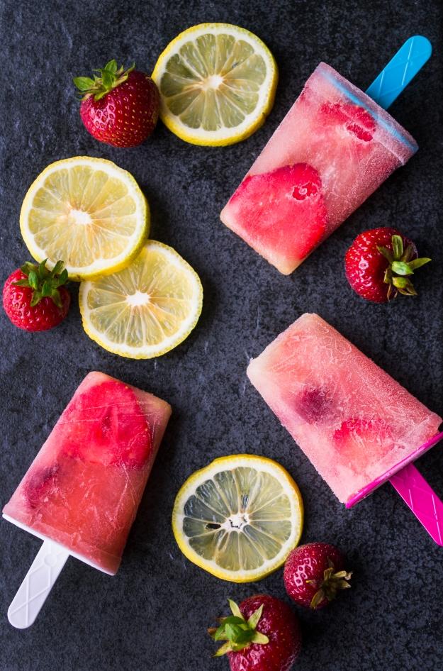 Isglass, citronpaletas med limoncello och jordgubbar, Sommar, Recept, Livsaptit