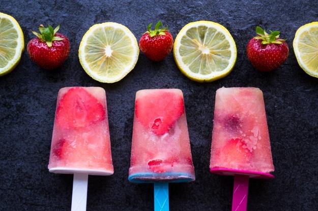 Trio i citronisglass med jordgubabr och limoncello, Livsaptit, recept