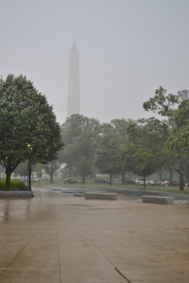 Washington Memorial i ösregn, sommaren 2015, Washington D. C., Resedagbok, USA, Livsaptit