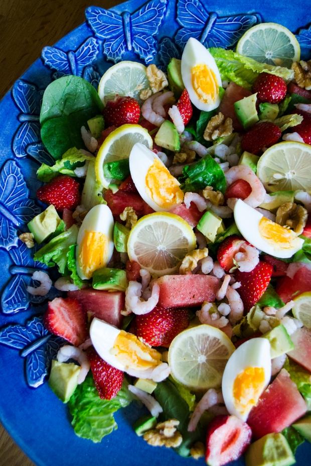 Räksallad med ägg, melon, citron och jordgubbar samt avokado, Recept, Sommar 2016, Livsaptit
